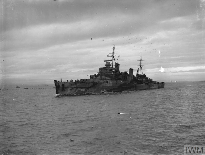 HMS SHEFFIELD, BRITISH SOUTHAMPTON CLASS CRUISER, ENTERING HARBOUR AT SCAPA. 20 DECEMBER 1941, ON BOARD HMS VICTORIOUS.