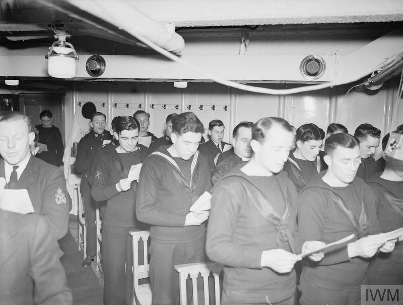 CHRISTMAS SCENES ON BOARD HMS VICTORIOUS. 20 DECEMBER 1941, ON BOARD THE AIRCRAFT CARRIER AT SCAPA.