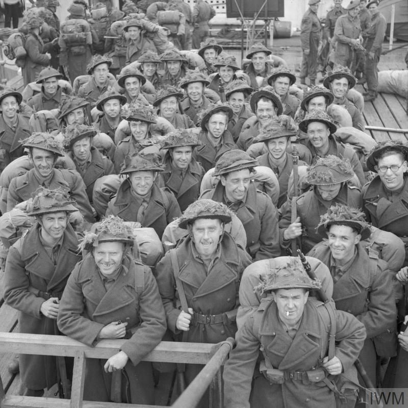 Royal Engineers embarking on a ship for Normandy, 9 June 1944.