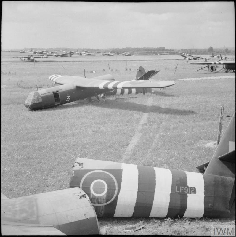 Horsa gliders litter the airborne landing zone north of Ranville, 15 June 1944.
