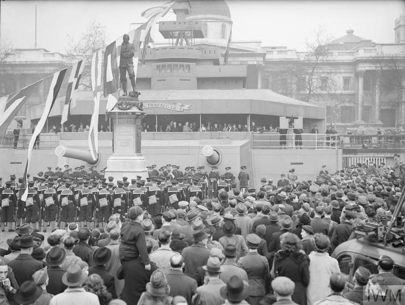 LONDON WARSHIP WEEK. THE OPENING CEREMONY IN TRAFALGAR SQUARE. 21 MARCH 1942.