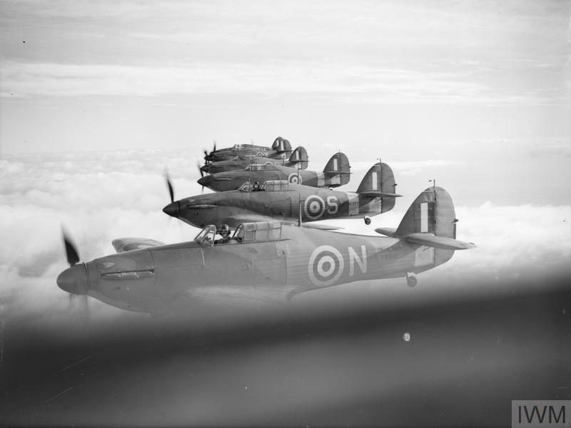 HURRICANES OF THE FLEET AIR ARM. 9 DECEMBER 1941, AERIAL PHOTOGRAPHS OF HURRICANES OPERATING FROM YELVERTON.