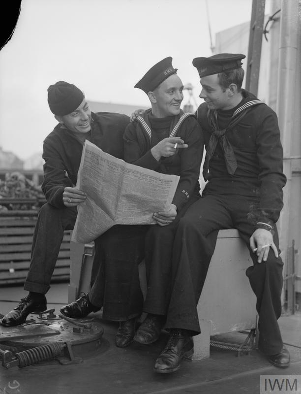 A British sailor making friends with two newly arrived American sailors.