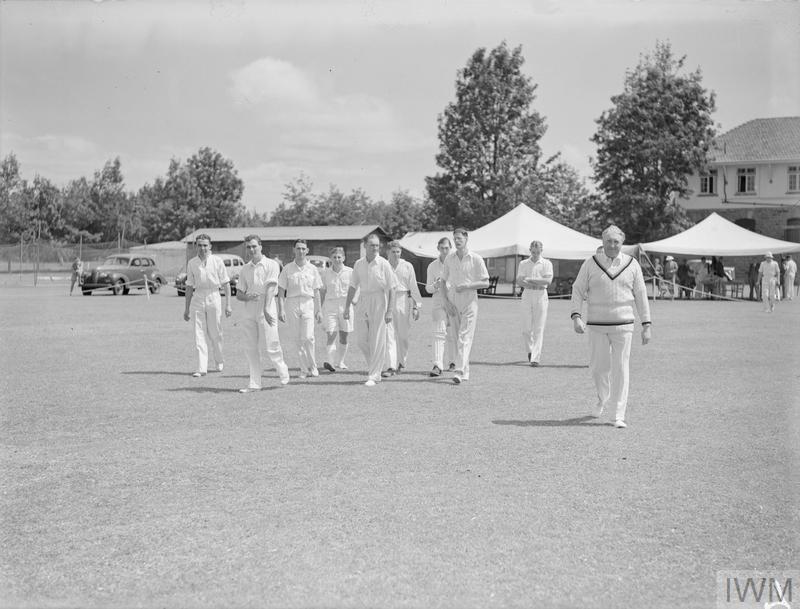 A CRICKET MATCH: MEN OF HM AIRCRAFT CARRIER INDOMITABLE V THE NAIROBI GYMKAHNA CLUB. 25 JUNE 1942.
