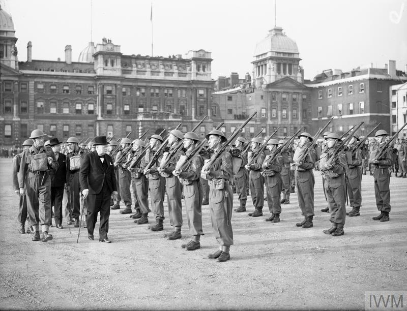 Mr W Churchill inspecting the Admiralty Company of the Home Guard.