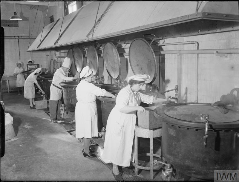 Factory canteen kitchens uk 1942 imperial war museums - Factory seconds kitchen cabinets ...