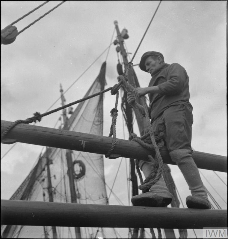 BELGIAN FISHERMEN IN BRIXHAM, DEVON, ENGLAND, UK, JULY 1944