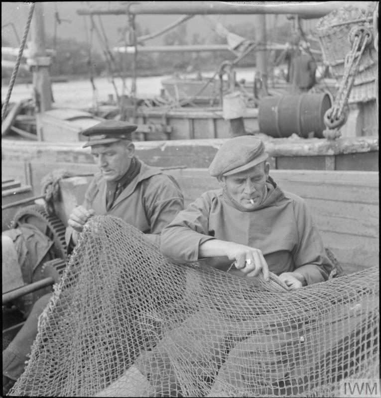 BELGIAN FISHERMEN IN BRIXHAM, DEVON, ENGLAND, UK, JULY 1944