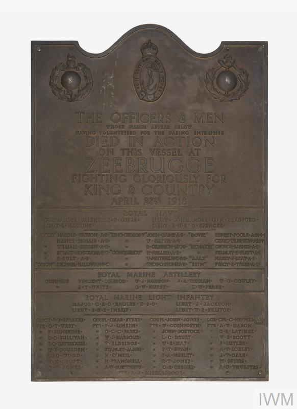 Roll of honour memorial plaque to the officers and men of the Iris, a Mersey ferry that was used during the naval raid on the German-held Belgian port of Zeebrugge, 23 April 1918.