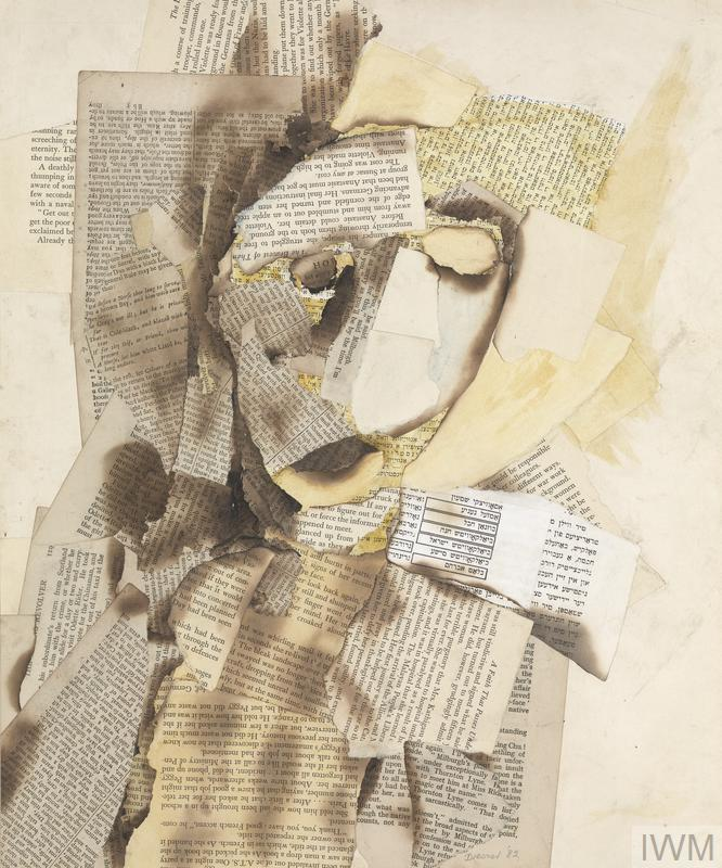 Ghostly head and shoulder portrait of the artist's friend made up of collaged, burnt and torn pages from Yiddish and English books and newspapers. The artist describes how despite being held in a concentration camp for two years Benjamin maintained an elegant image, stylish and tough. He was always cheerful and optimistic and it was this optimism that helped Dresner cope with the death of his father in 1943.