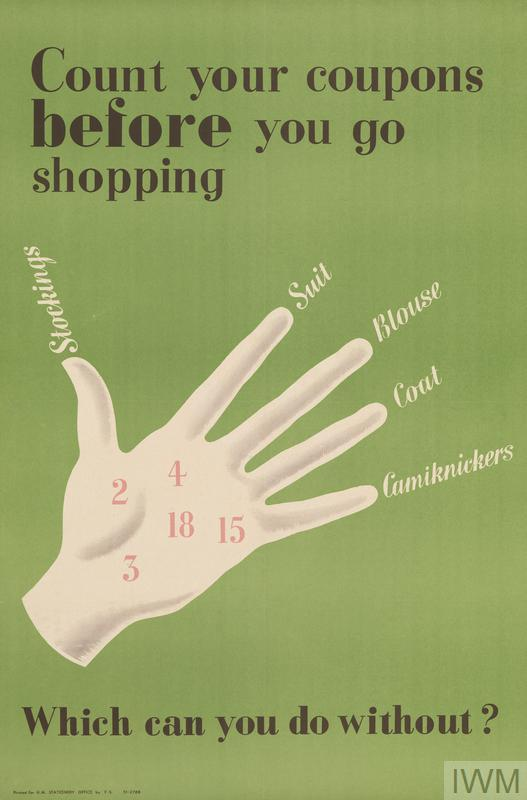 disembodied hand, the palm superimposed with pink numbers, each finger labelled 'Stockings', 'Suit', 'Blouse', 'Coat', 'Camiknickers' text: Count your coupons before you go shopping Which can you do without?