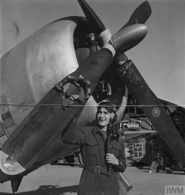 Lieutenant Edwin Wright, 404th Fighter Group, shows off damage to his P-47 Thunderbolt, October 1944.