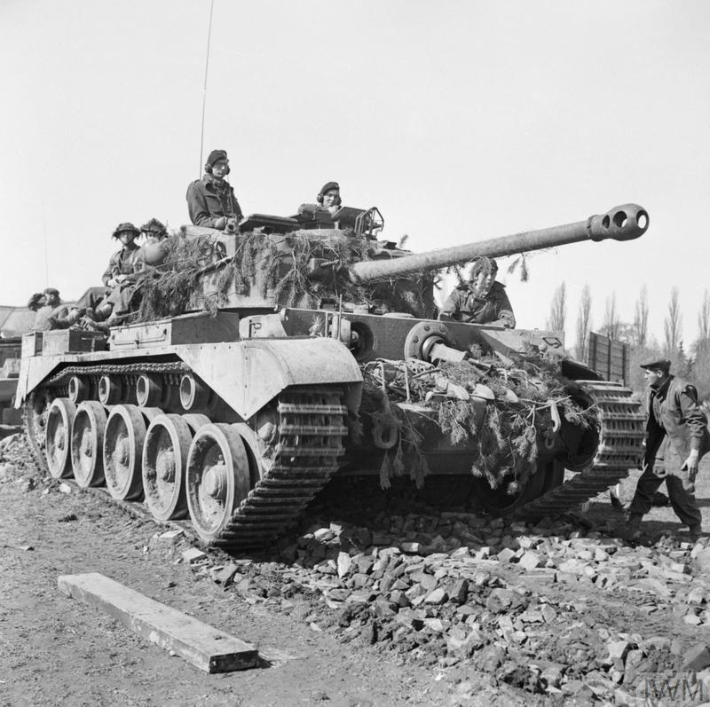 A Comet tank of 11th Armoured Division in the Weser bridgehead, 7 April 1945.