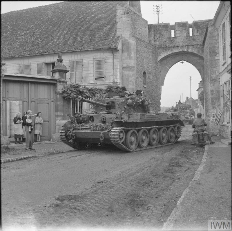Cromwell tank of 2nd Welsh Guards, Guards Armoured Division, in Trie-Chateau, near Gisors, 31 August 1944.