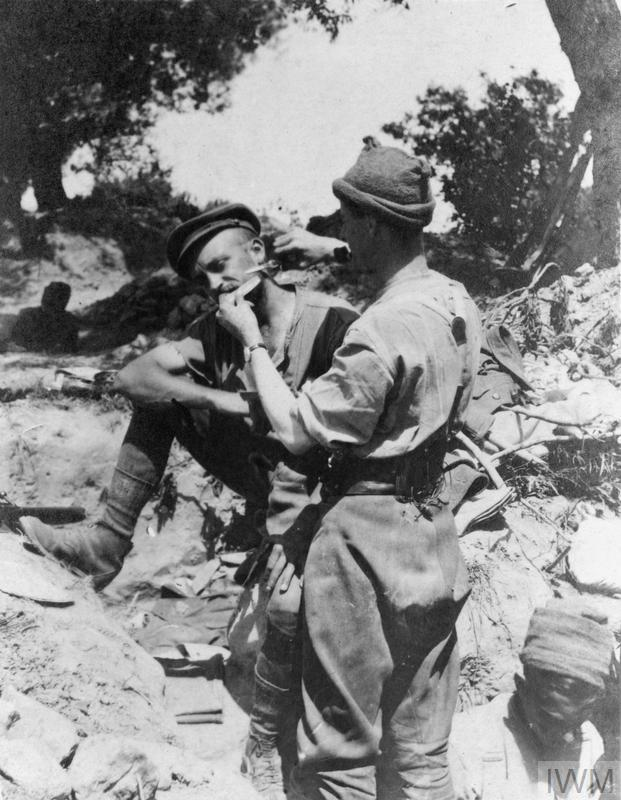 Two soldiers shaving in a trench, Gallipoli, 1915.
