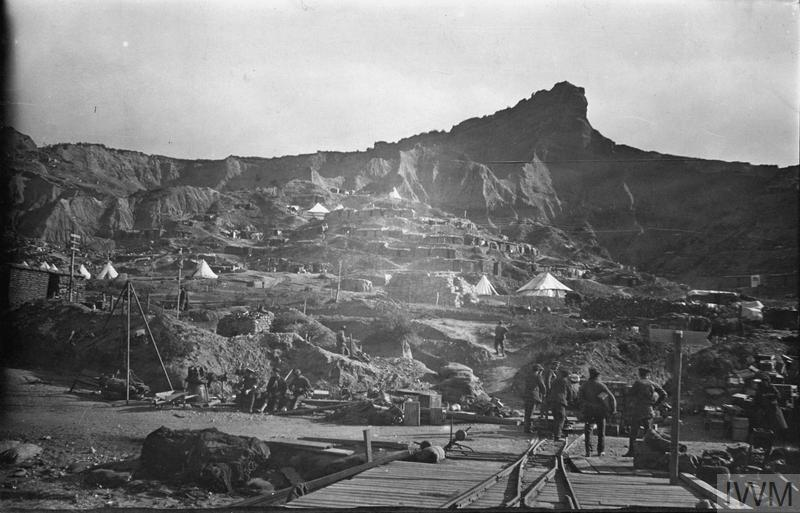The Sphinx, Gallipoli. In the foreground soldiers, stores and tents can be seen.