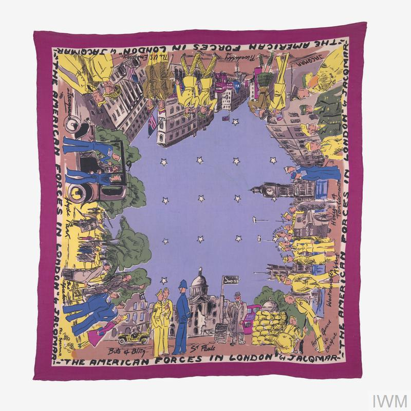 Colourful square-shaped rayon headscarf printed around the edges of the obverse with well-known London landmarks and populated by American servicemen, a starry night sky is depicted in the centre of the scarf and there is a simple cerise pink border printed around the extreme edges, the design is entitled 'THE AMERICAN FORCES IN LONDON' and this is printed on the inside of the pink border along with the name of the producer 'JACQMAR'.