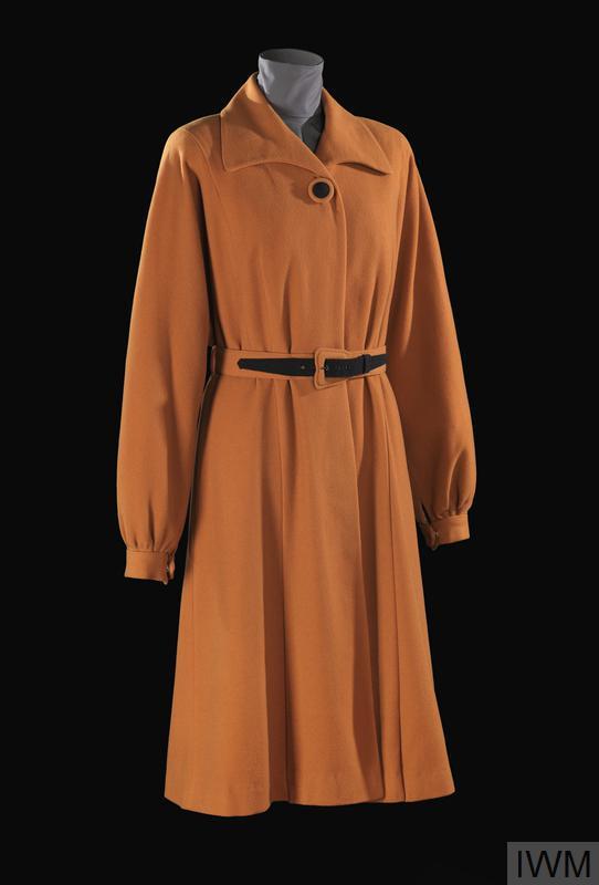 Utility mustard wool coat made by Alexon.