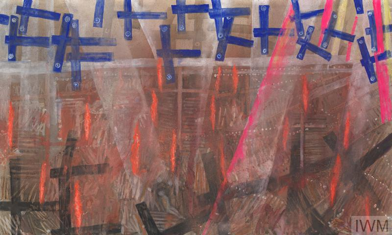 Above a limbless figure sitting in an abstracted cityscape, blue cruciform shapes marked with RAF roundels fly in a sky crossed with pink and yellow searchlights.