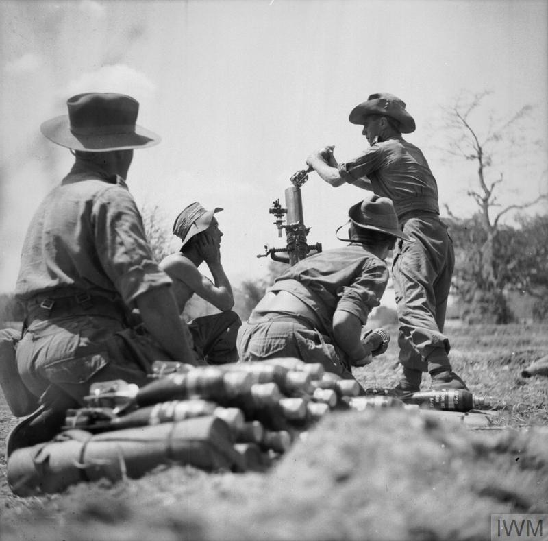 A 3-inch mortar crew in action as the 20th Division prepares to advance on Prome, 3 May 1945.