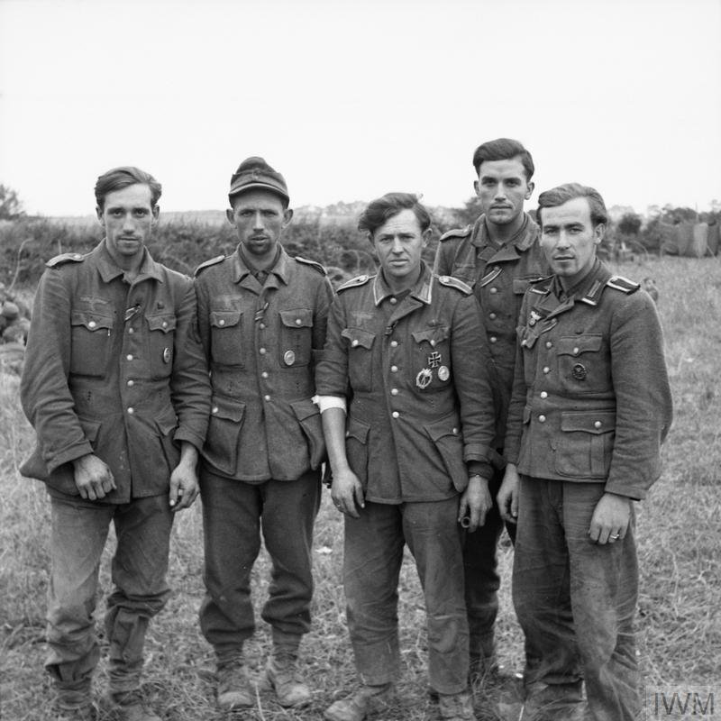 A group of veteran German prisoners captured at Maltot, 23 July 1944.