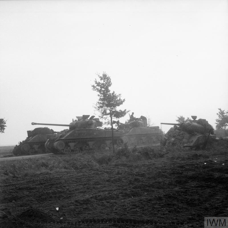 A Sherman Firefly tank of the Irish Guards Group advances past Sherman tanks knocked out earlier during Operation 'Market-Garden', 17 September 1944.