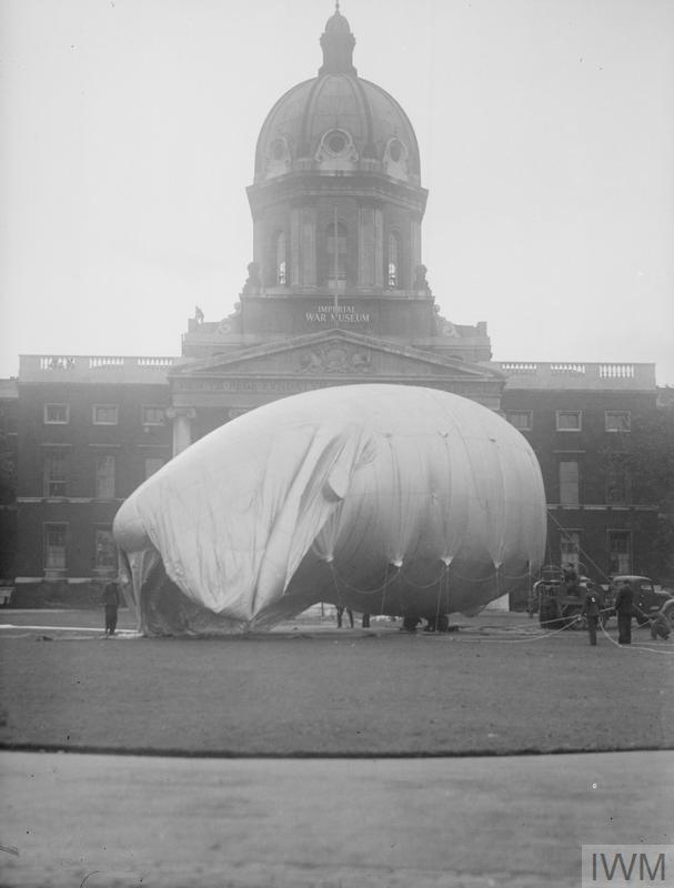 Preparations for war: A barrage balloon is inflated in front of the Imperial War Museum at Lambeth Road, London.