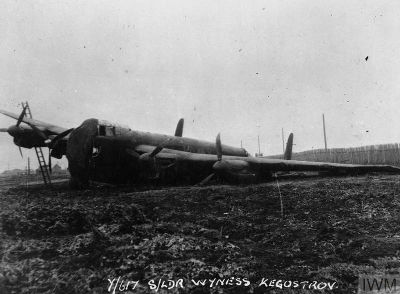 Avro Lancaster B Mark 1 ME559 'KC-Y', of No. 617 Squadron, Royal Air Force; Squadron leader Drew Wyness' aircraft after crash landing at Kegostrov in the Soviet Union, 12 October 1944, prior to the RAF's raid on the German Battleship 'Tirpitz', (Operation 'Paravane').