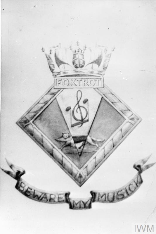 """""""BEWARE MY MUSIC""""; MOTTO OF THE BRITISH ESCORT TRAWLER FOXTROT. 25 AUGUST 1943."""