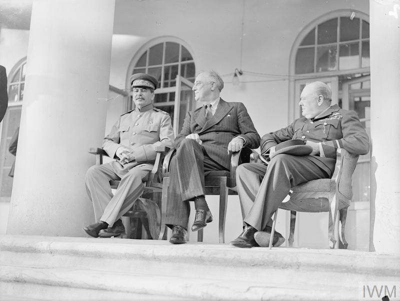 (© IWM A20709) Left to right: Marshal Stalin, President Roosevelt, Mr Churchill