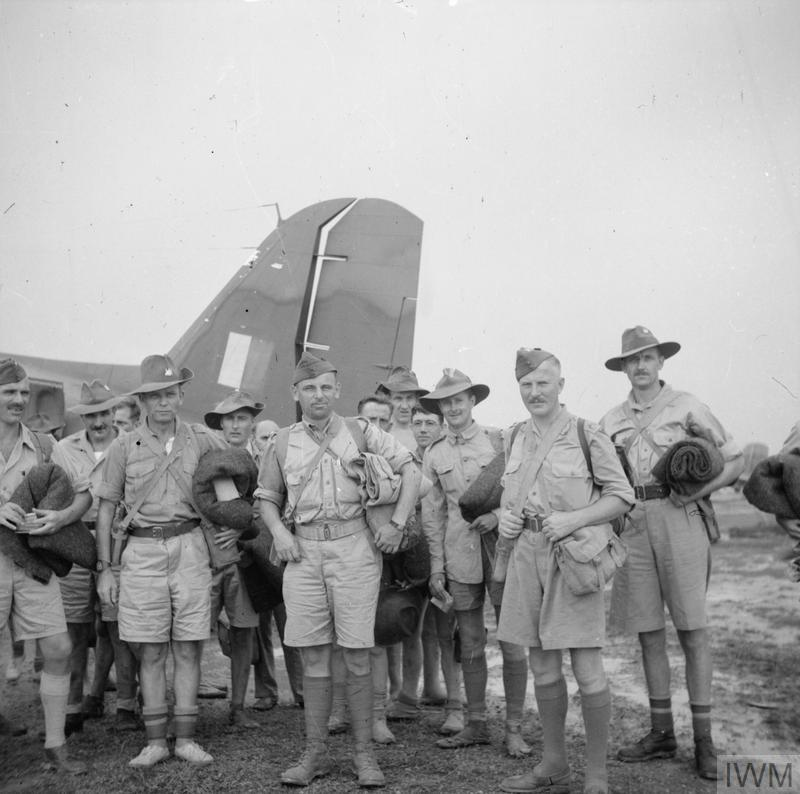 An image of a group of former British prisoners of war, Rangoon