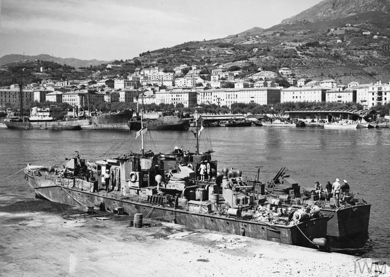 THE NAVY AT BASTIA. 1 JUNE 1944, ADVANCED COASTAL FORCES BASE, BASTIA, CORSICA