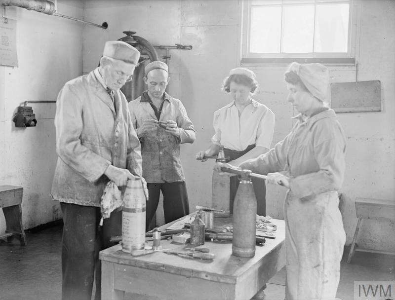 MEN AND WOMEN BEHIND THE GUNS OF THE BRITISH NAVY. 25 TO 30 JULY 1944, AT VARIOUS ARMAMENT DEPOTS AND FACTORIES IN THE SOUTH OF ENGLAND (PRIDDY HARD, DEAN'S HILL, MILTON HEATH, AND BATH). SOME OF THE EMPLOYEES OF THE ARMAMENT SUPPLY DEPARTMENT OF THE ADMIRALTY.