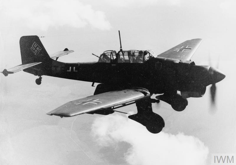 Junkers Ju 87 'Stuka' in flight - viewed from the right and slightly above.