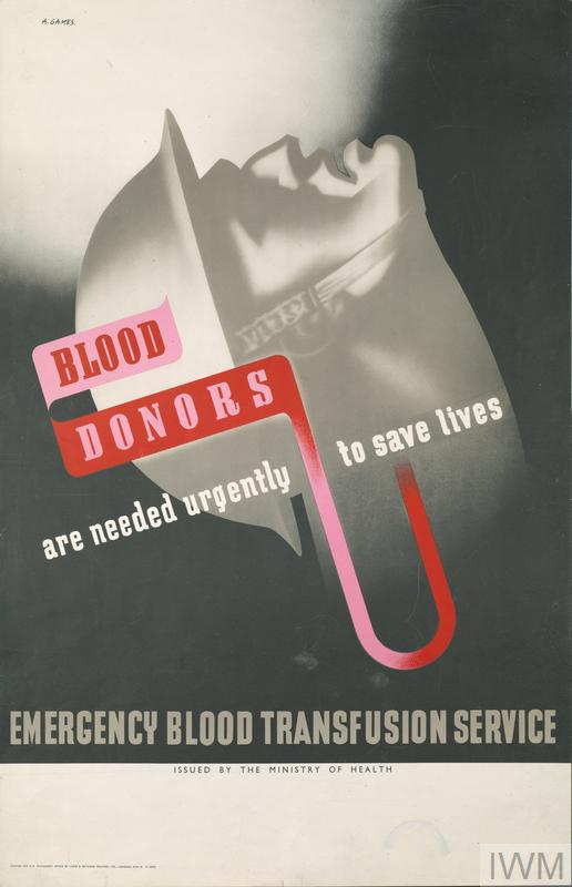 "Wartime poster depicting a wounded soldier with the appeal ""Blood donors are need urgently to save lives"""