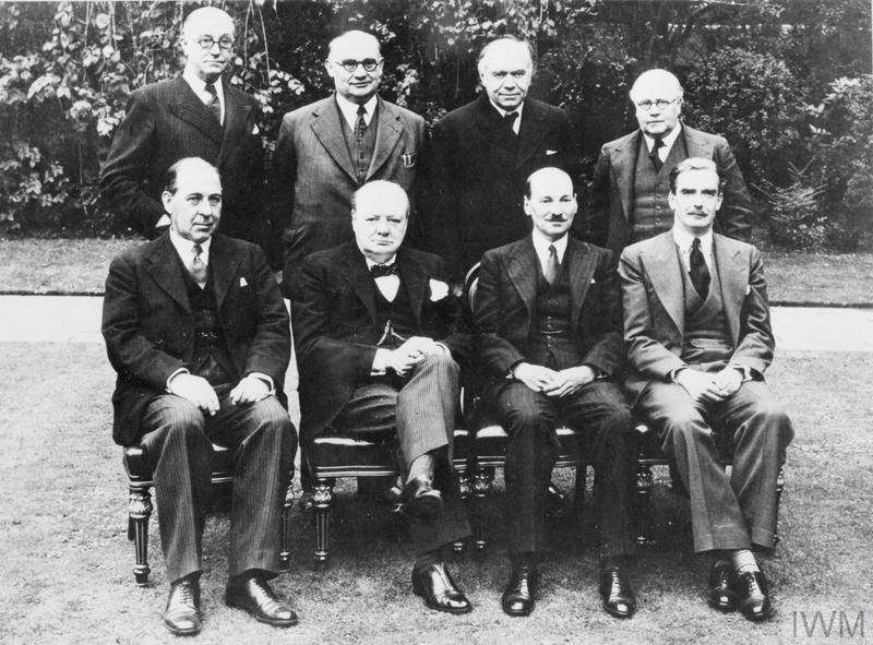 Winston Churchill's Coalition Cabinet in May 1940: left to Right, front row: Sir John Anderson, Winston Churchill, Clement Attlee, Anthony Eden; back row: Sir Stafford Cripps, Ernest Bevin, Lord Beaverbrook, Herbert Morrison.