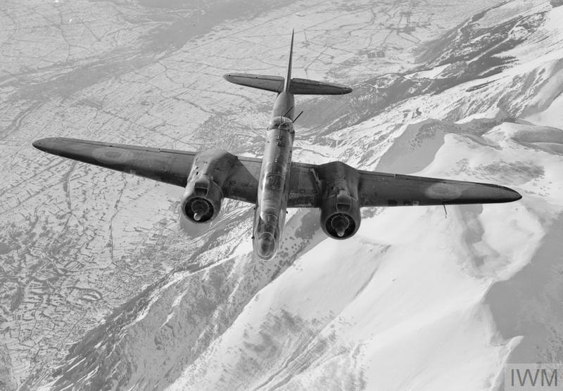 A Martin Baltimore Mark IV of No. 223 Squadron RAF flying over the Abruzzan Appenines after bombing a a road junction between Avezzano and Popoli on the Rome-Pescara highway, during attacks by medium bombers of the Desert Air Force on enemy supply and reinforcement routes following the Allied landings at Anzio (Operation SHINGLE), 27 January 1944.