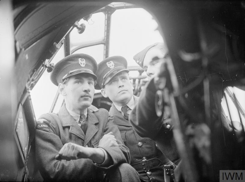 Two airmen of the Polish Air Force Depot at RAF Blackpool receiving instruction on the controls of an aircraft, probably a Vickers Wellington medium bomber, during ground training at Squires Gate aerodrome, 27 August 1940.