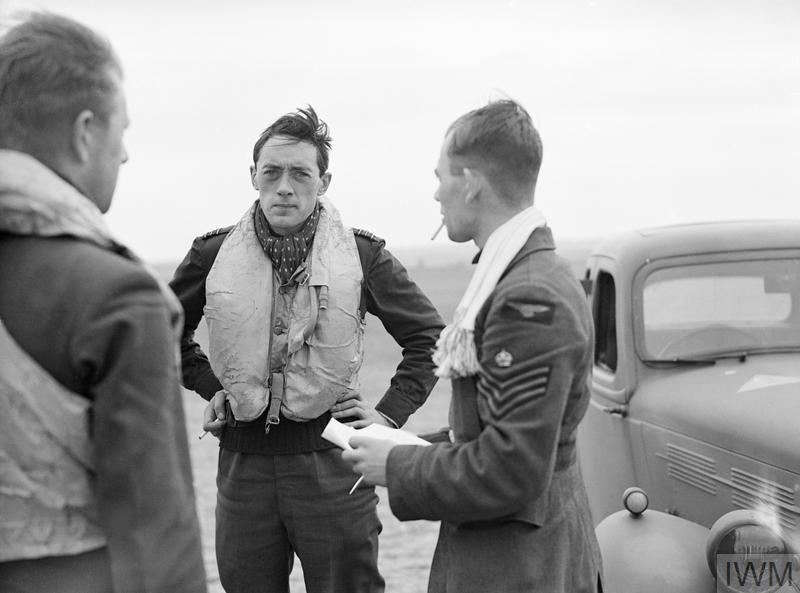 Battle of Britain pilot Squadron Leader Brian 'Sandy' Lane looks tired after combat.