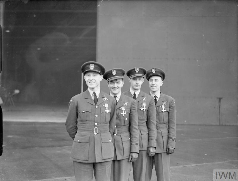 The first four Polish recipients of the Distinguished Flying Cross of No. 303 Polish Fighter Squadron