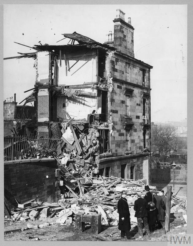 Damage to a tenement in the recent raid on Clydeside. 17th March 1941.