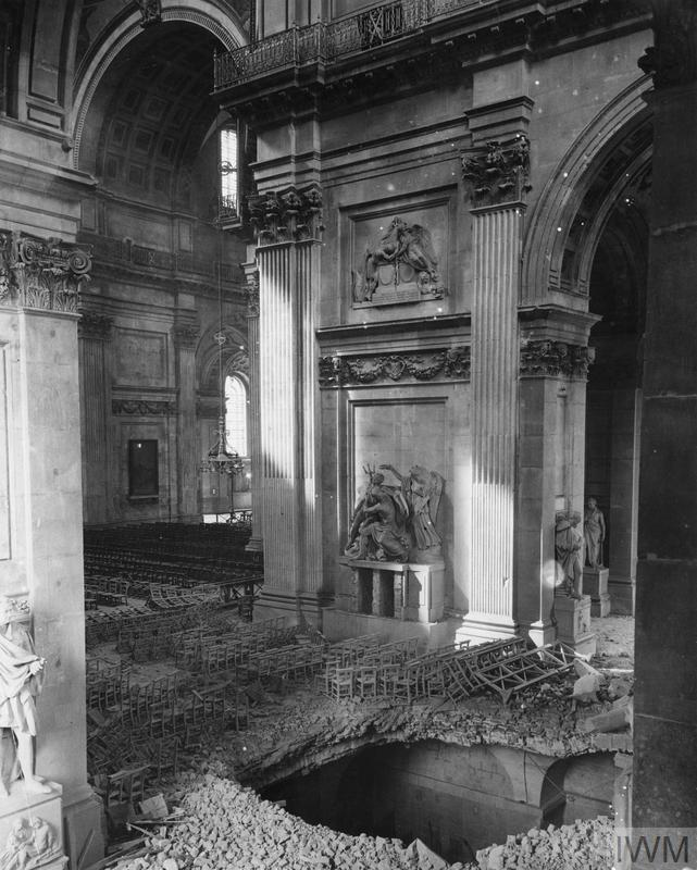 Damage to the north transept of St Paul's Cathedral caused by a bomb during the Blitz.