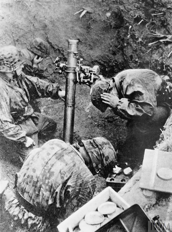 SS troops firing a 100mm Nebelwerfer 35. These smoke mortars could also fire high-explosive shells. The Germans became expert at concentrating mortar fire for maximum effect. The British called them 'stonks'.