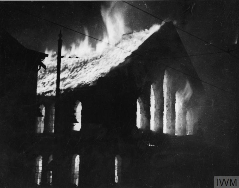 A building on fire during the Belfast Blitz, 1941