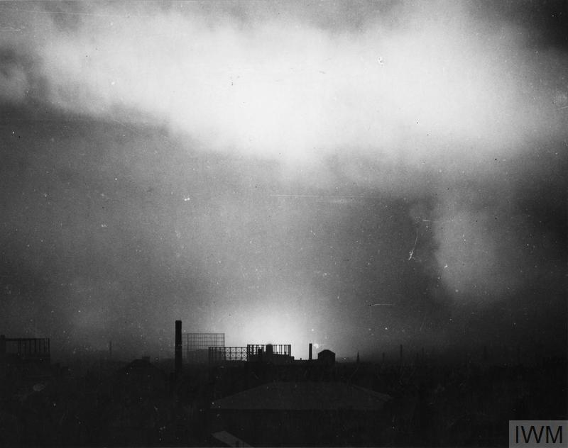 Birmingham skyline during an air raid on the city in 1940