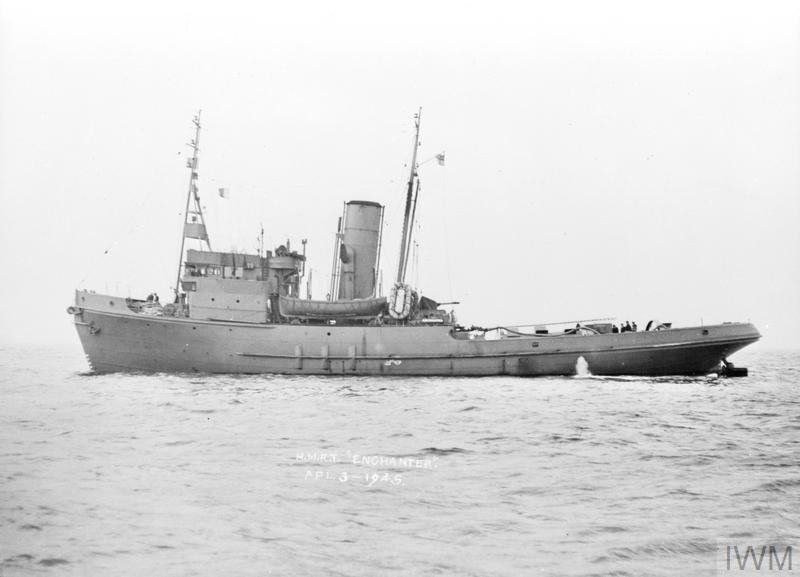 HMRT ENCHANTER, BRITISH ENVOY CLASS TUG  3 APRIL 1945, AT
