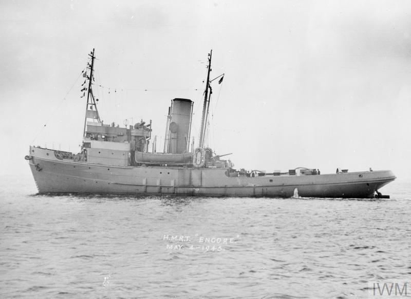 HMRT ENCORE, BRITISH ENVOY CLASS TUG  4 MAY 1945, AT SEA