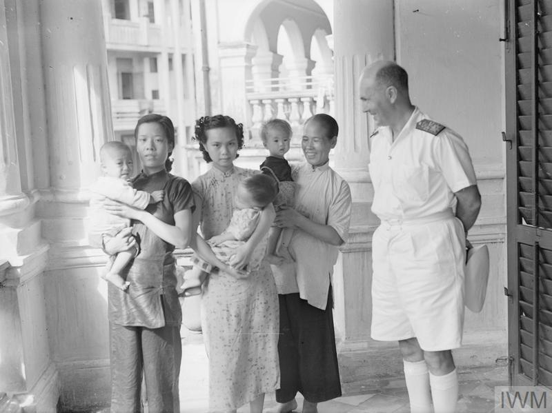 REAR ADMIRAL HARCOURT VISITS HONG KONG WELFARE CENTRE AT HOSPITAL. 5 OCTOBER 1945, REAR ADMIRAL C H V HARCOURT, CB, CBE, COMMANDER IN CHIEF, HONG KONG, MADE A TOUR OF INSPECTION OF THE TUNG WAH EASTERN HOSPITAL AND THE WANCHAI HEALTH CENTRE, HONG KONG.
