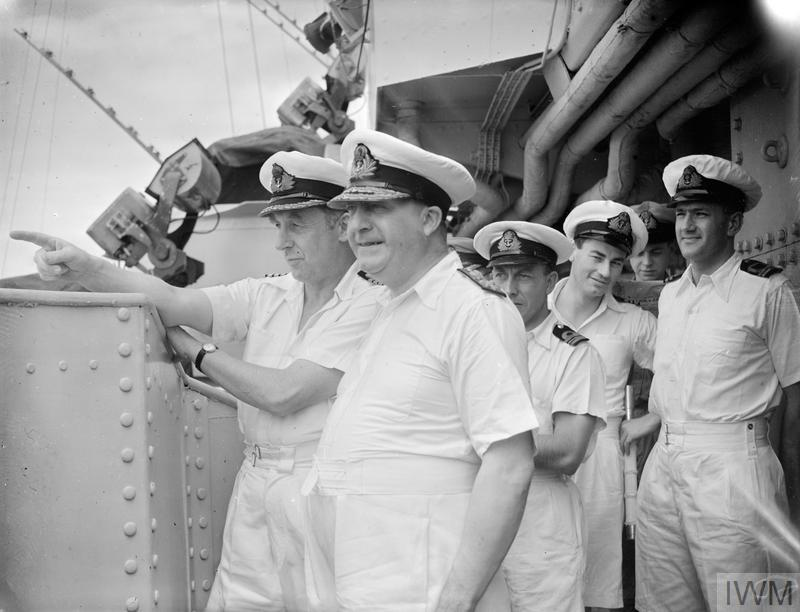 WITH THE BRITISH PACIFIC FLEET. AUGUST 1945, COMMANDING OFFICERS AND OTHER PERSONALITIES ON BOARD HM SHIPS OF THE BRITISH PACIFIC FLEET.