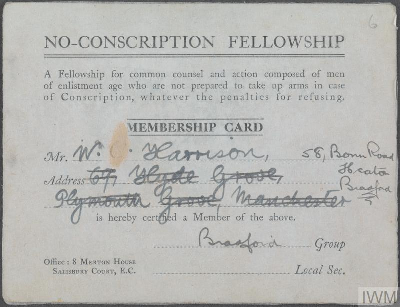 William Harrison's membership card for the No-Conscription Fellowship